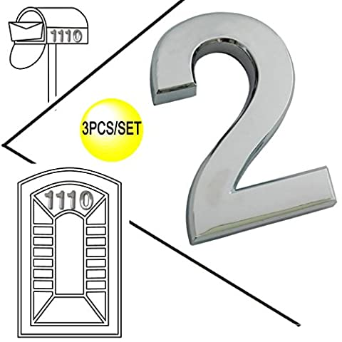 Magicdo 3 Pieces of Number 2, 2-3/4 Inch, Modern Silver Numbers, House Number and Mailbox Number, 3D Shining Reflective Number, Self-Stick Number Design for Mailbox, House, Door, Street Signs Number