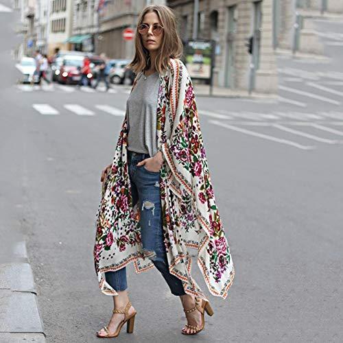 d't lache Kimono vtements Mousseline Long Casual Chemisier de White Soie Souris Manches Bohme imprim vtements Style Chauve Floral Chemises Femmes 4dgR4q
