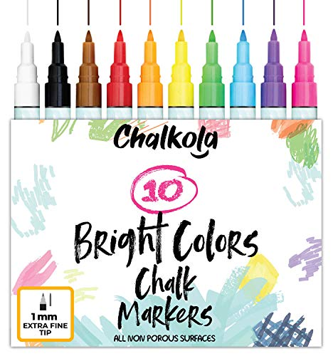 1mm Extra Fine Tip Chalk Markers (10 Pack) Neon Color Chalk pens | Non-Toxic, Wet Wipe | For Blackboards, Chalkboard…