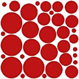 34 Dark Red Polka Dot Wall Stickers Removable Dot Wall Decals