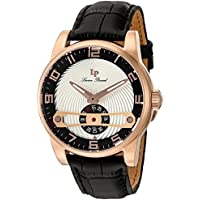 Lucien Piccard Men's 'Bosphorus' Quartz Stainless Steel and Leather Watch, Color Black (Model: LP-40046-RG-01-SC)