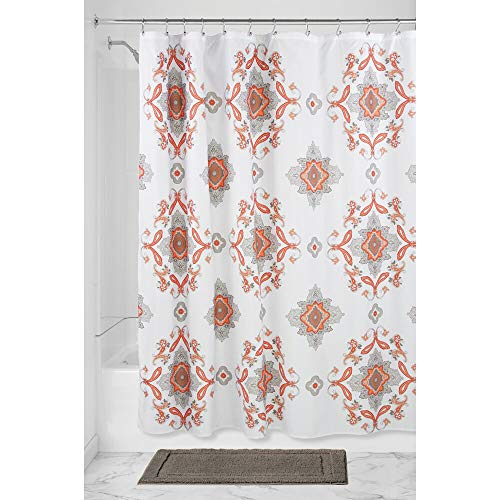 mDesign Decorative Paisley Damask Print - Easy Care Fabric Shower Curtain with Reinforced Buttonholes, for Bathroom Showers, Stalls and Bathtubs, Machine Washable - 72