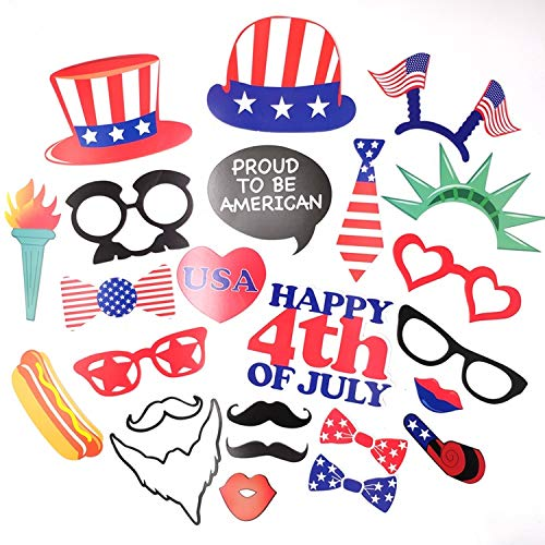 NVICTUS [24 Pack] 4th Fourth of July Photo Booth Props for American Patriotic Independence Day Party Decorations Favors. Memorial Day Decoration. Party Decor Favor Supplies Kits Photobooth Fiesta]()