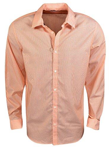 Marigold Stripe - Calvin Klein Men's Stripe Long Sleeve Non-Iron Button Down Shirt, Orange Marigold, SMALL