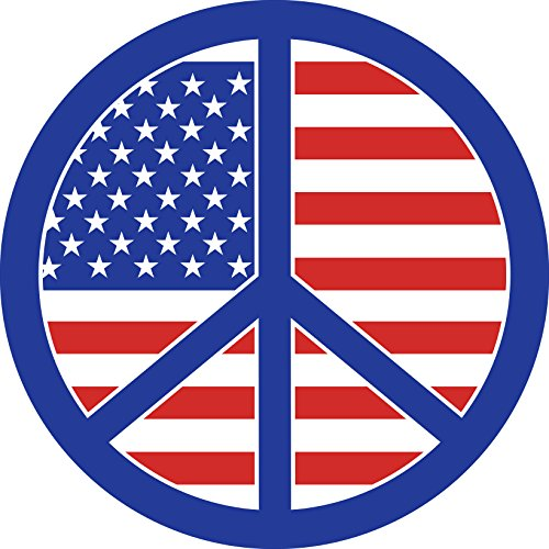 (American Flag In Blue Peace Sign Cartoon Vinyl Sticker (12