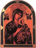 Our Lady of Perpetual Help Florentine plaque with a dark green and gold border, 23 x 31 inches. Made in Italy.