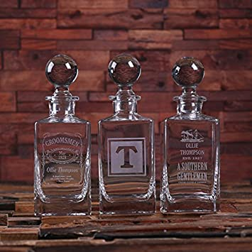 New Town Creative Personalised Whiskey Decanter with Round Bottle Lid and Wood Box by Distinctive Goods