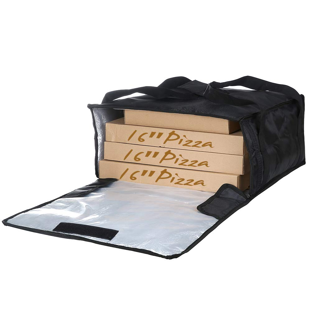 Backerysupply Polyester Insulated Pizza/Food Delivery Bag Professional Pizza Delivery Bag 18''×18''×8'' for Three 16'' Pizza Boxes (Black)