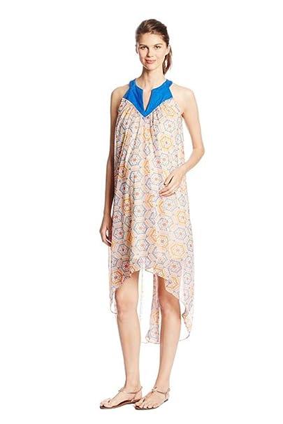 d6a0159a5b915 Maternal America Chiffon Asymmetrical Hem Maternity Dress - Mosaic - Small  at Amazon Women's Clothing store:
