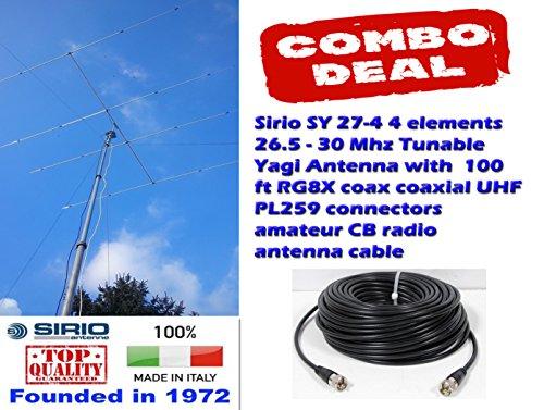 [해외]Sirio SY 27-4 4 Elements 26.5 to 30 MHz CB10M Yagi Beam Antenna w 100Ft Coax / Sirio SY 27-4 4 Elements 26.5 to 30 MHz CB10M Yagi Beam Antenna w 100Ft Coax