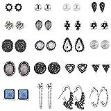 UUS 20 Pairs Multiple Stud Earrings for Women Girls Cute Hoop Elegant Earrings Set Vintage Jewelry Set Summer Journey Birthday Gift