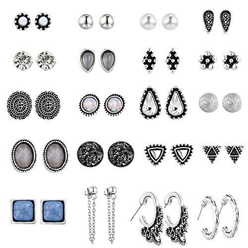 UUS 20 Pairs Multiple Stud Earrings for Women Girls Cute Big Hoop Elegant Earrings Set Vintage Earring Set Bohemian Earrings Stud earrings for Summer Journey Birthday Gift