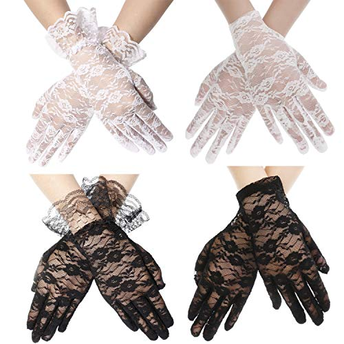 Adramata White Black Lace Glove for Women Girls Short Vintage Floral Gloves Party Costumes Wedding Accessories