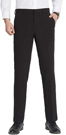 Amazon Com Inflation Pantalones De Vestir Para Hombre Sin Arrugas Parte Delantera Plana Ajustados Elasticos Para Hombre Clothing