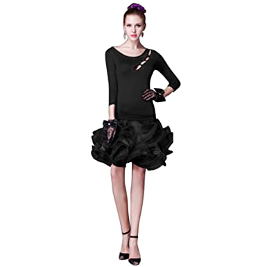 63b1d1264aa YC WELL Latin Dance Dress Women Salsa Rumba Cha Cha Samba Tango Dance  Clothes(Black