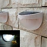 6 LED Solar White Power Light Sensor Wall Light Outdoor Garden Fence Lamp