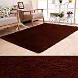 Soft Modern Plush Area Rugs Thicken Living Room Carpets Large Plush Shaggy Floor Rug Home Office Bedroom Floor Bathroom Hotel Mat(120cm x 160cm,Coffee)