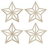 Kaisercraft FL453 Laser Cut Wood Flourish, Mini Stars, 4/Pack