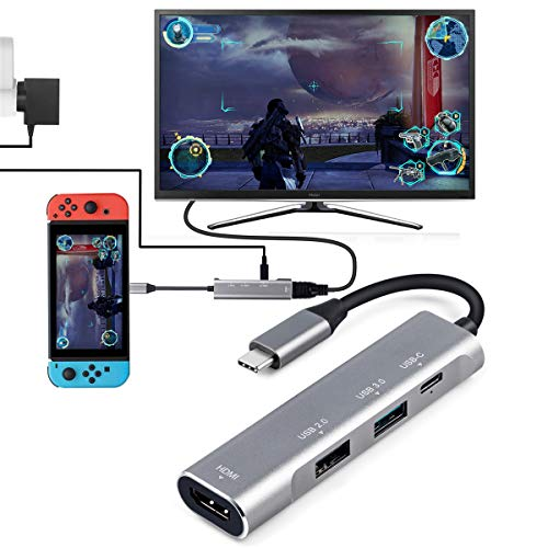 USB Type C 4 in 1 HUB, Aluminum Multiport Adapter, USB C to HDMI 4K Digital AV, Type-C (USB 3.1) W60 PD charger, with USB 3.0 USB 2.0 Portable Dock for Nintendo Switch, Samsung S8/S9+(Plus)Dex Station