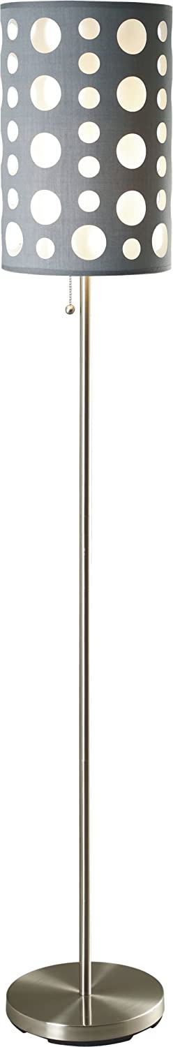 SH Lighting Retro Dual Shade Floor Lamp – Features Grey Outer Shade White Inner Shade – 62 Tall Great for Living Rooms or Bedrooms – Grey White