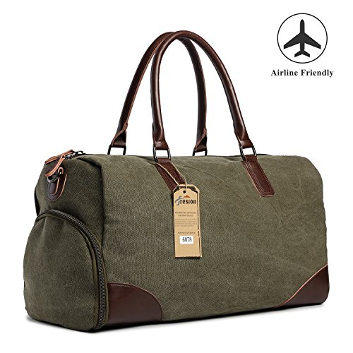 Fresion Canvas Handbag Leather Outdoor Portable Handbag Carry on Overnight Bag with Large Size(Green) from Fresion