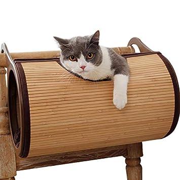 JLFAIRY Gato De Bambú Red Colgante Hamaca Cama Transpirable Mascota Gato Perro Estera Gatito Suave Mascota Gato Hamaca Casa Cama Suministros para Mascotas: ...