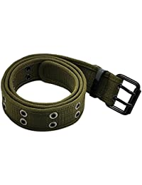 Double Hole Grommets Canvas Web Belt with Forged Black Buckle for Men & Women