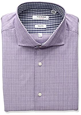 Isaac Mizrahi Men's Slim Fit Glen Plaid Cut Away Collar Dress Shirt