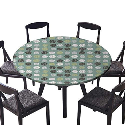 (Round Table Tablecloth Retro Vintage 60s Home Design Inspired Modern Circles Art Sage Green Olive Green Machine Washable 35.5