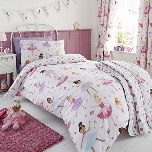 Happy Linen Company HLC Childrens Girls Prima Ballerina Ballet Dance Pink Reversible UK Single/US Twin Bedding Duvet Cover -