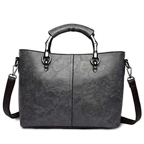 Bolso De Hombro De Las Mujeres Bolso Diagonal Paquete Moda Color Sólido PU Gray