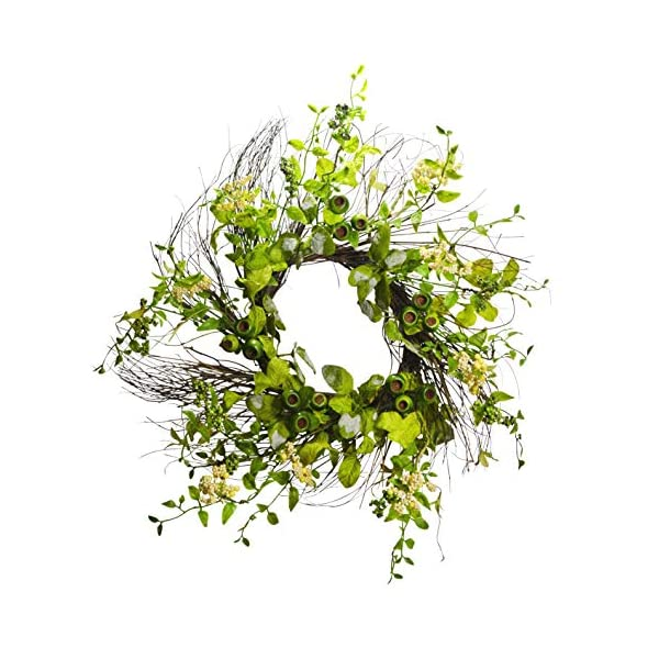 22 inches Pod and Berry Foliage Flower Wreath, Wreath for Front Door, Beautiful Handcrafted Wreath for Home Decor, Weddings Greenery