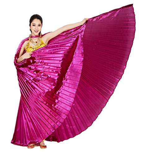 MUNAFIE Belly Dance Isis Wings with Sticks for Adult Belly Dance Costume Angel Wings for Halloween Carnival Performance Dark pink