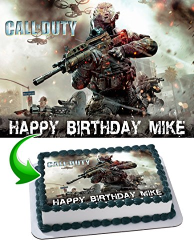 Call of Duty Edible Cake Image Topper Personalized Icing Sugar Paper A4 Sheet Edible Frosting Photo Cake 1/4 ~ Best Quality Edible Image for cake (Call Of Duty Black Ops Birthday Party Supplies)