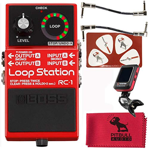 Boss RC-1 Loop Station Pedal with Master Tuner, Patch cables, PitbullAudio Microfiber Cloth and Pik-Card