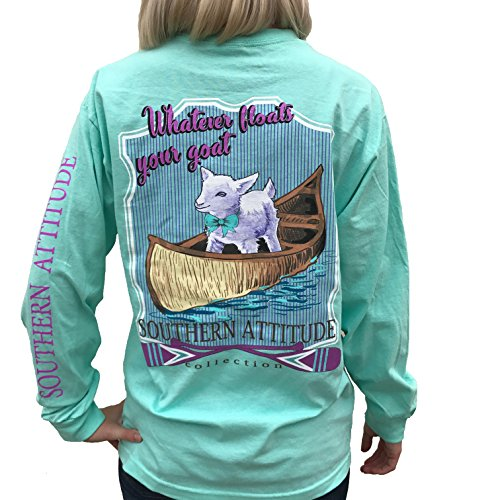 Southern Attitude Whatever Floats Your Goat Seafoam Green Long Sleeve Women's Shirt (X-Large)