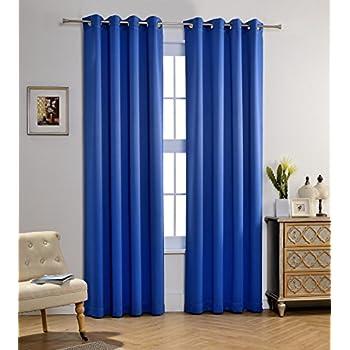 Amazon.com: 2 Piece Beautiful Sheer Window Royal Blue Elegance ...