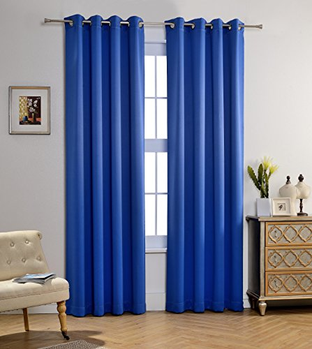 MYSKY HOME Solid Grommet top Thermal Insulated Window Blackout Curtains for Living Room, 52 x 84 Inch, Royal Blue, 1 Panel