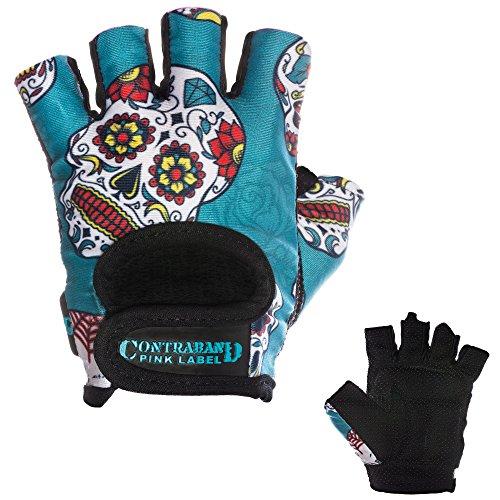 Contraband Pink Label 5237 Womens Design Series Sugar Skull Lifting Gloves (PAIR) (Green, Small)