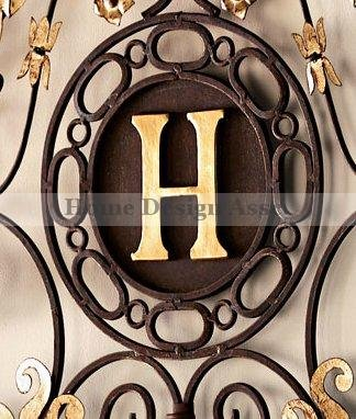 Lavish Gold IRON SCROLL MONOGRAM Initial Letter Wall Plaque Overdoor Palace