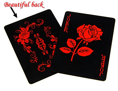 Wall of Dragon Rose Design Plastic PVC Black Poker Waterproof Playing Cards Novelty Collection Gift Durable Poker