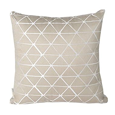 Mika Home Jacquard Triangle Reversible Throw Pillow Cover Cushion Shell for 18X18  Inserts Brown Cream