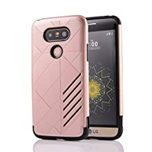 MOONCASE LG G5 Case Hybrid Armor Tough Rugged [Anti Scratch] Dual Layer TPU +PC Frame Protective Case Cover for LG G5 Rose Gold