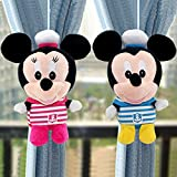 A Pair Baby Kid Toddler Child Infant Nursery Room Bedroom Mickey Minnie Mouse Animal Cartoon Plush Window Curtain Tieback Tie Back Decor Holder Buckle Holdback Belt Hooks Clip Clasps Toy (1 pc Mickey + 1 pc Minnie)