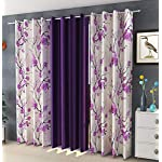 Laying Style™ Solid (Long Cursh) Window Curtain 4 x 5 feet Purple Blackout Eyelet with 8 Steel Rings (Plain Curtains 122…