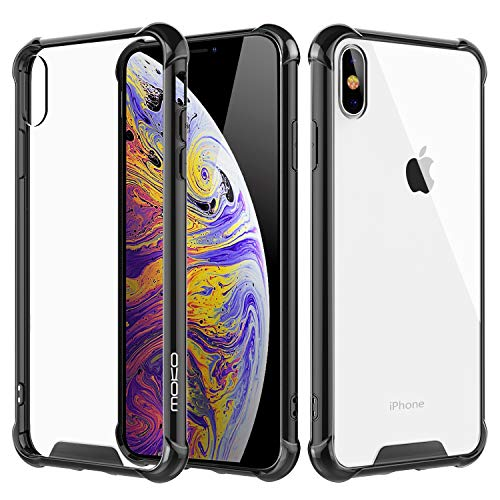 MoKo Cover Compatible for iPhone Xs Max Case, Crystal Clear Reinforced Corners TPU Bumper and Transparent Hybrid Rugged Anti-Scratch Panel Fit with Apple iPhone Xs Max 6.5 inch 2018 - Black & Clear