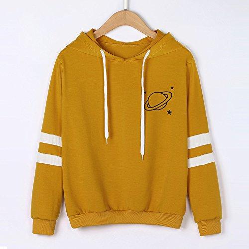 Lenfesh Manga Larga Bolsillo Con Jersey amarillo De Capucha Mujeres Gafas Sudaderas Planeta Estampado rYrgq