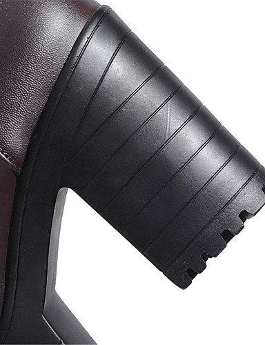 XZZ/ Damen-Stiefel-Kleid / Lässig-Kunstleder-Blockabsatz-Plateau / Rundeschuh / Modische Stiefel-Schwarz / Braun black-us4-4.5 / eu34 / uk2-2.5 / cn33