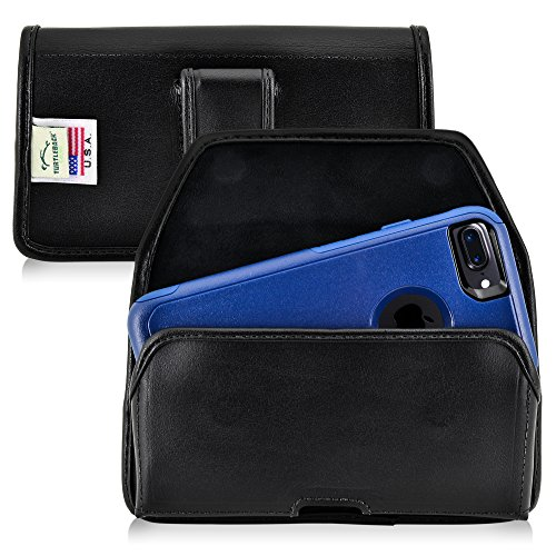 Turtleback Holster Made for Apple iPhone 8 & iPhone 7 with Otterbox Commuter case Black Belt Case Leather Pouch with Executive Belt Clip Horizontal Made in USA ()