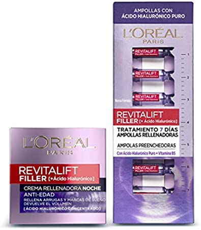 L'Oreal Paris Revitalift Filler Set de 7 Ampollas Rellenadoras y Crema de Noche Revitalizante, con Ácido Hialurónico Puro, 1.3 ml cada Ampolla y 50 ml